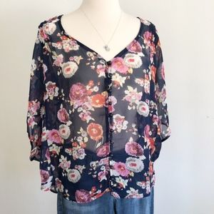 Fylo Floral Button Up Sheer Top w/ wide sleeves